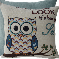 Owl Look, tapestry panel Feature Cushion, Throw Pillow