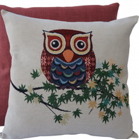 Owl with leaves, tapestry panel Feature Cushion, Throw Pillow