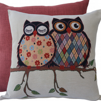 2 Owls on branch, tapestry panel Feature Cushion, Throw Pillow