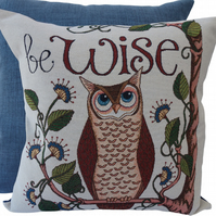 Wise Owl, tapestry panel Feature Cushion, Throw Pillow