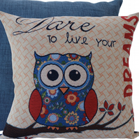 Owl Dare, tapestry panel Feature Cushion, Throw Pillow