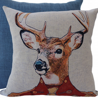 Stag, tapestry panel Feature Cushion, Throw Pillow