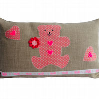 Pink Teddy Bear Cushion, Appliqué Cushion, Feature Cushion, Throw Pillow