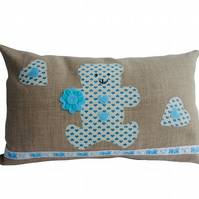 Blue Teddy Bear Cushion, Appliqué Cushion, Feature Cushion, Throw Pillow