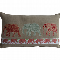 Green and Red Elephants, Appliqué Feature Cushion, Throw Pillow