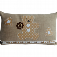 Beige Teddy Bear, Appliqué Decorative Feature Cushion, Throw Pillow