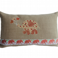 Cream and Red Balloon Elephant, Decorative Feature Cushion, Throw Pillow