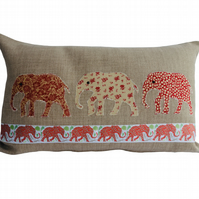 Red & Cream Elephants, Appliqué Feature Cushion, Throw Pillow