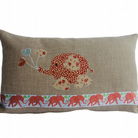Red and Cream Balloon Elephant, Appliqué Feature Cushion, Throw Pillow