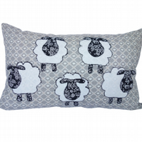 Sheep, Appliqué Cushion, Decorative Feature Cushion, Throw Pillow