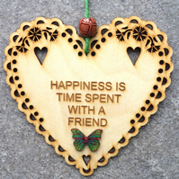 Happiness 15cm Wooden Engraved Hanging Heart Decoration