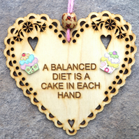 Balanced Diet 15cm Wooden Engraved Hanging Heart Decoration