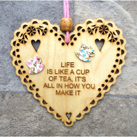 Cup Of Tea 15cm Wooden Engraved Hanging Heart Decoration