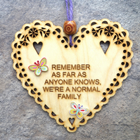 Normal Family 15cm Wooden Engraved Hanging Heart Decoration