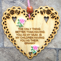 Mum 15cm Wooden Engraved Hanging Heart Decoration