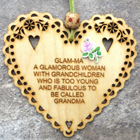 Glam-Ma 15cm Wooden Engraved Hanging Heart Decoration