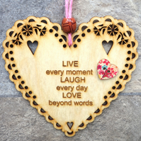 Live Laugh Love 15cm Wooden Engraved Hanging Heart Decoration