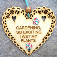 Gardening 15cm Wooden Engraved Hanging Heart Decoration