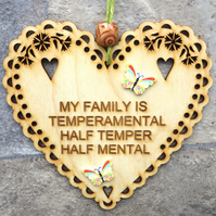 Temperamental 15cm Wooden Engraved Hanging Heart Decoration