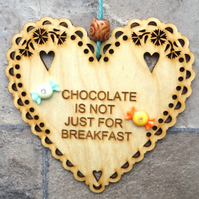 Chocolate 15cm Wooden Engraved Hanging Heart Decoration