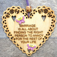 Marriage 15cm Wooden Engraved Hanging Heart Decoration