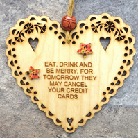Eat Drink Merry 15cm Wooden Engraved Hanging Heart Decoration