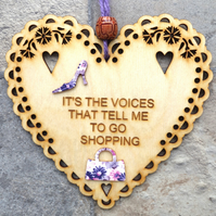 Voices 15cm Wooden Engraved Hanging Heart Decoration