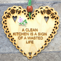 Clean Kitchen 15cm Wooden Engraved Hanging Heart Decoration
