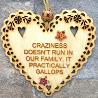 Craziness 15cm Wooden Engraved Hanging Heart Decoration