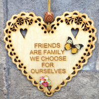 Friends 15cm Wooden Engraved Hanging Heart Decoration