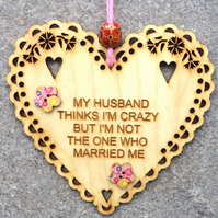 My Husband 15cm Wooden Engraved Hanging Heart Decoration