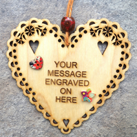 PERSONALISED 15cm Wooden Engraved Hanging Heart Decoration