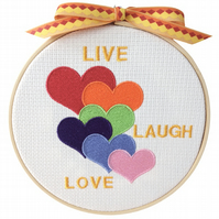 Coloured Hearts, 15cm Embroidered Hoop Art, Hanging Wall Decoration