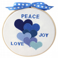 Blue Hearts, 15cm Embroidered Hoop Art, Hanging Wall Decoration