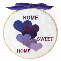 Purple Hearts, 15cm Embroidered Hoop Art, Hanging Wall Decoration