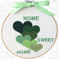 Green Hearts, 15cm Embroidered Hoop Art, Hanging Wall Decoration