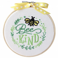 Laurel Bee Kind, 12.5cm Embroidered Hoop Art, Hanging Wall Decoration