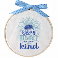 Stay Humble, 12.5cm Embroidered Hoop Art, Hanging Wall Decoration