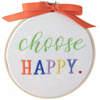 Choose Happy, 12.5cm Embroidered Hoop Art, Hanging Wall Decoration