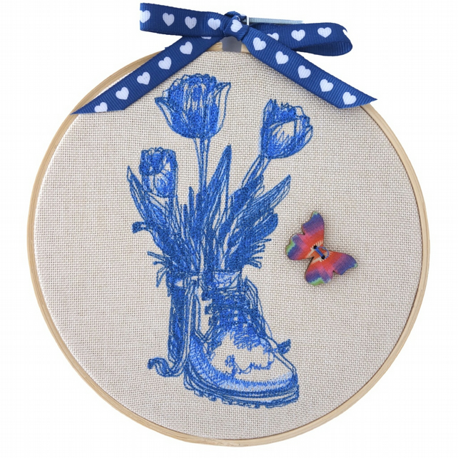 Boot & Flowers, 15cm Embroidered Hoop Art, Hanging Wall Decoration