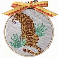 Sitting Tiger, 10cm Embroidered Hoop Art, Hanging Wall Decoration