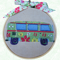 Hippy Camper Van, 10cm Embroidered Hoop Art, Hanging Wall Decoration