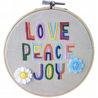 Love Peace Joy, 15cm Embroidered Hoop Art, Hanging Wall Decoration