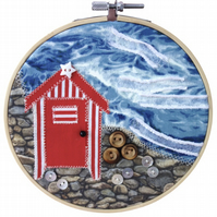 Beach Hut, 15cm Appliqué Embroidered Hoop Art, Hanging Wall Decoration
