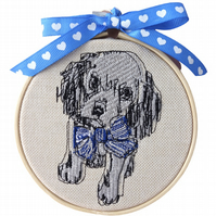 Dog with Blue Bow, 10cm Embroidered Hoop Art, Hanging Wall Decoration