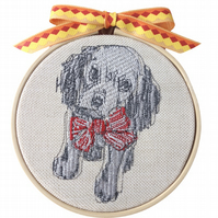 Dog with Red Bow, 10cm Embroidered Hoop Art, Hanging Wall Decoration