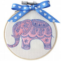 Elephant, 10cm Embroidered Hoop Art, Hanging Wall Decoration