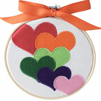 Rainbow Hearts, 10cm Embroidered Hoop Art, Hanging Wall Decoration