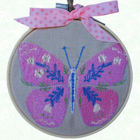 Pink Butterfly, 10cm Embroidered Hoop Art, Hanging Wall Decoration
