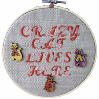 Crazy Cat, 15cm Embroidered Hoop Art, Hanging Wall Decoration